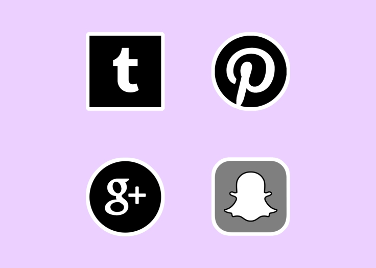 Social media, Tumblr, Pinterest, Google +, Snapchat