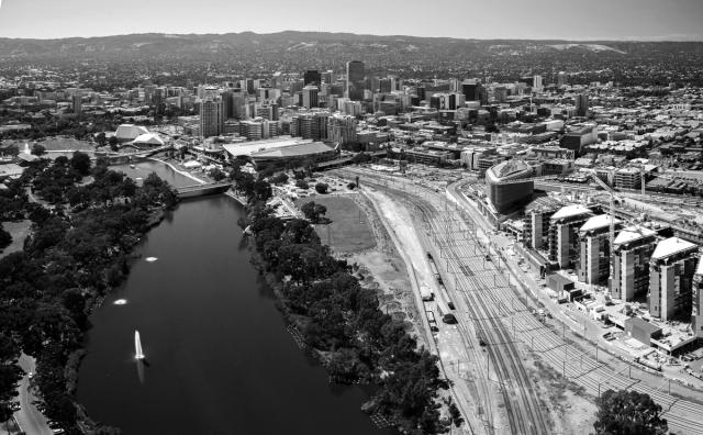 Adelaide; Aerial; City; River