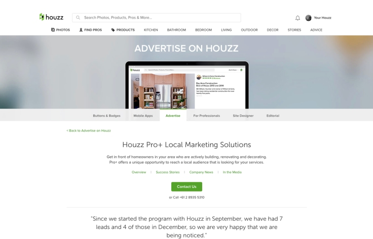 Houzz; Houzz Pro; Advertising