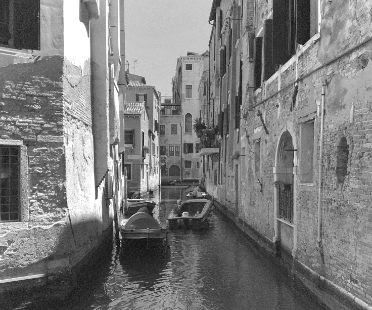 Venice; canal; black and white